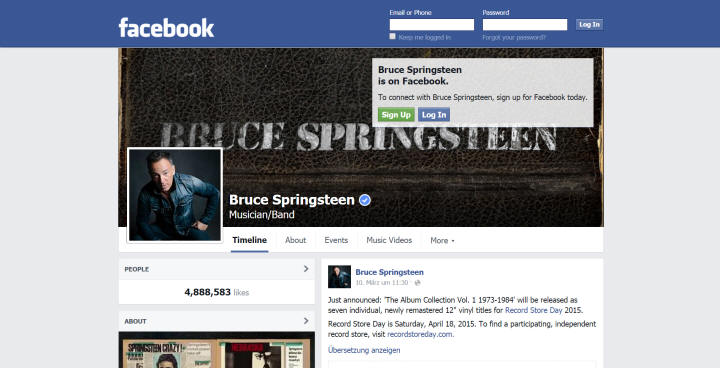 Springsteen's Facebook Page