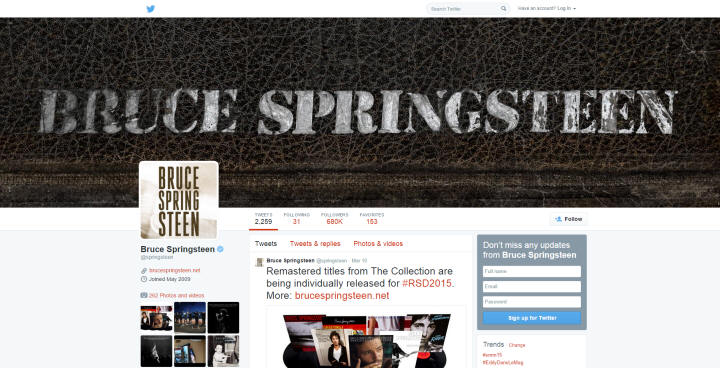 Springsteen's Twitter Page