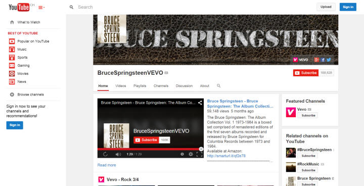 Springsteen's YouTube Channel