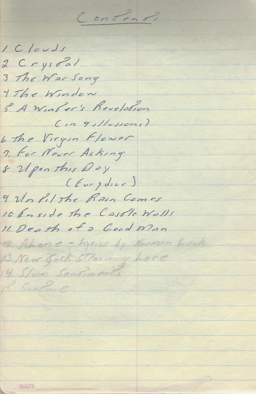Bruce Springsteen 1968 lyrics notebook (contents page)