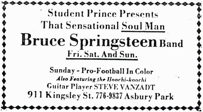 Promotional ad for the 003, 04, and 05 Dec 1971 shows at Student Prince, Asbury Park, NJ
