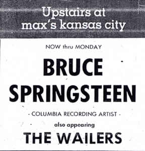 Promotional ad for the July 1973 six-night stand at Max's Kansas City, New York City, NY