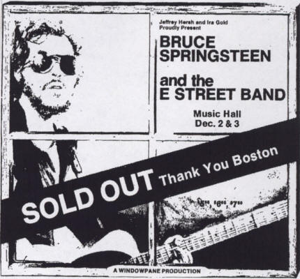 Promotional ad for the 02 and 03 Dec 1975 shows at Music Hall, Boston, MA