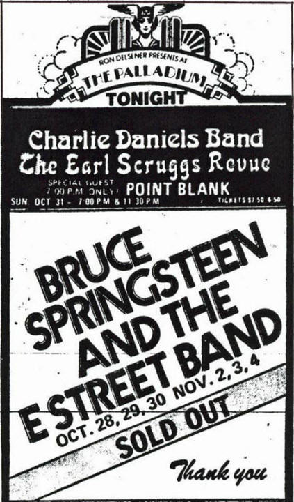 Promotional ad for the 1976 six-night stand at Palladium, New York City, NY