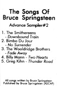 Various artists -- The Songs Of Bruce Springsteen - Advance Sampler #2