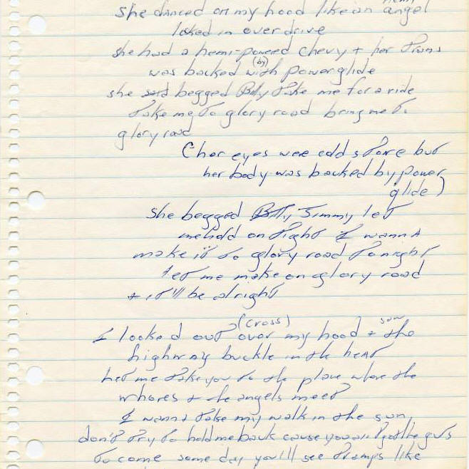 Bruce Springsteen handwritten lyrics for GLORY ROAD
