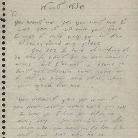 Bruce Springsteen handwritten lyrics for WANT ME