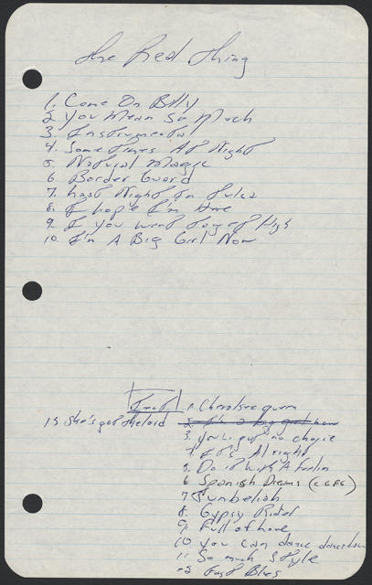 Bruce Springsteen handwritten song list from the July 1971 shows at D'Scene, South Amboy, NJ