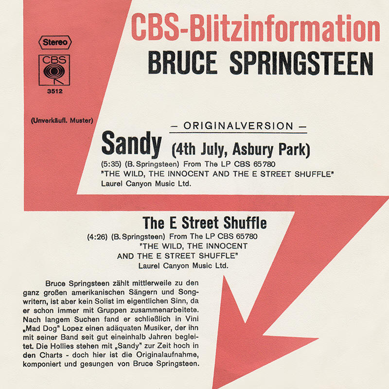 "Bruce Springsteen --""Sandy (4th July, Asbury Park) / The E Street Shuffle"""