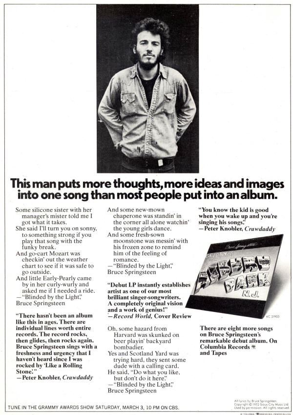 Bruce springsteen lyrics blinded by the light album version greetings from asbury park nj album release ad from the march 1973 issue of national m4hsunfo