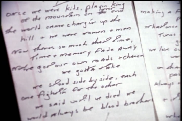 Bruce Springsteen handwritten lyrics for BLOOD BROTHERS (from the Blood Brothers documentary)
