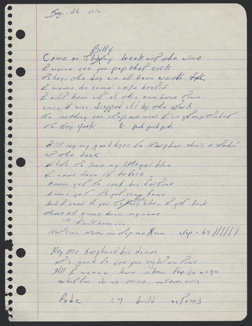 Bruce Springsteen handwritten lyrics for COME ON BILLY BREAK OUT THE WINE (page 1)