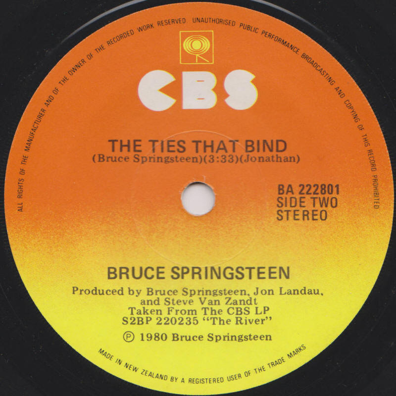 "Bruce Springsteen -- ""Fade Away / The Ties That Bind"""