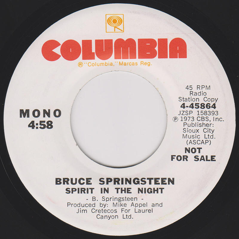 "Bruce Springsteen -- ""Spirit In The Night / Spirit In The Night"""