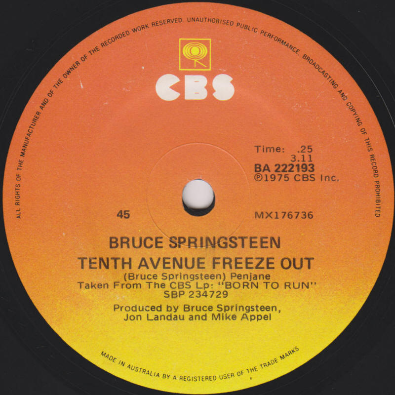 "Bruce Springsteen -- ""Tenth Avenue Freeze-Out / She's The One"" (Australia 7-inch single, A-side label)"