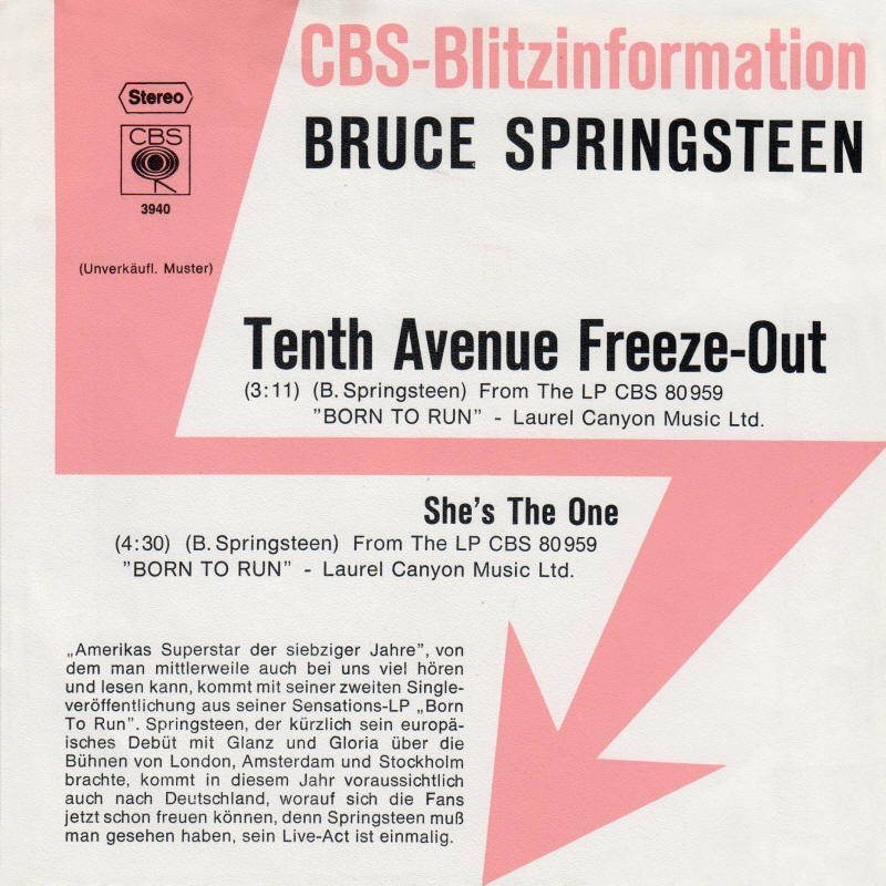 "Bruce Springsteen -- ""Tenth Avenue Freeze-Out / She's The One"" (Germany 7-inch single, promo copy, front sleeve)"