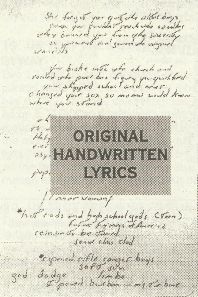 Bruce Springsteen Lyrics: VENGEANCE VANDALS [Handwritten lyrics]