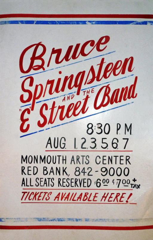 Promotional poster for the August 1976 six-night stand at Monmouth Arts Center, Red Bank, NJ