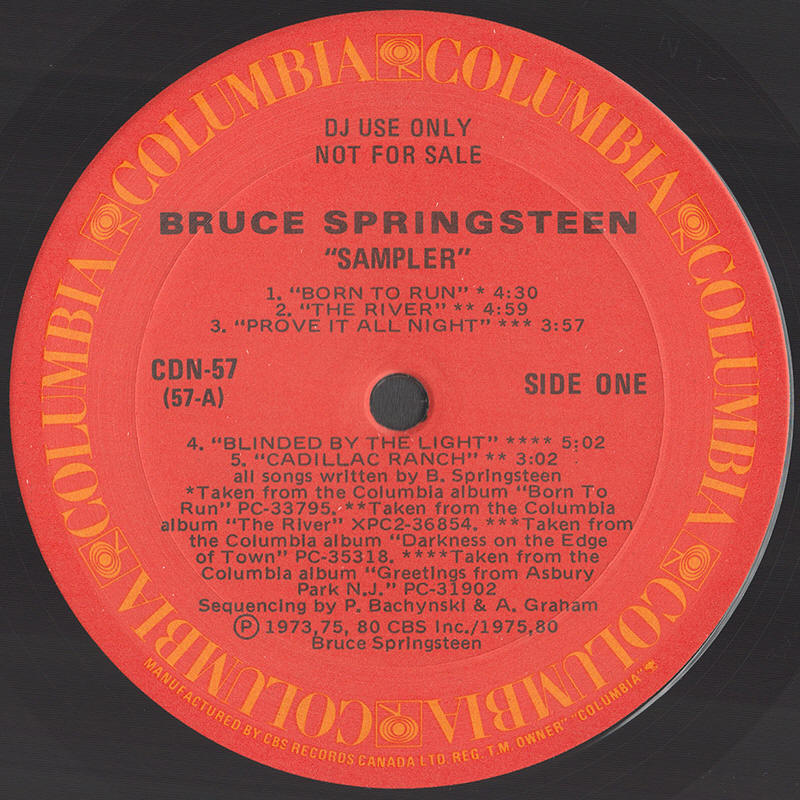 Bruce Springsteen -- Bruce Springsteen Sampler (side 1 label)