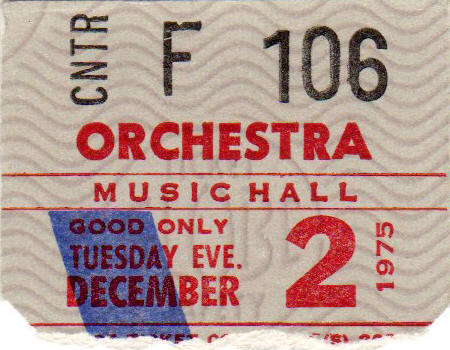 Ticket stub for the 02 Dec 1975 show at Music Hall, Boston, MA