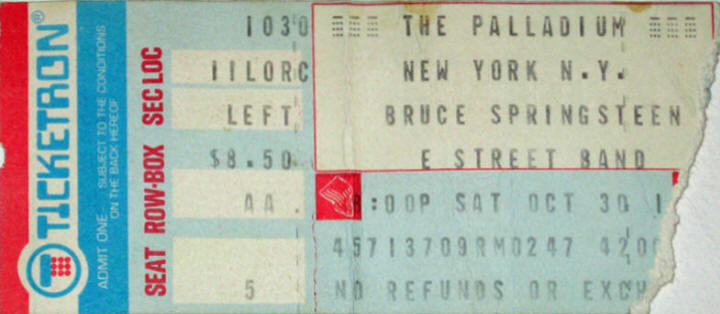 Ticket stub for the 30 Oct 1976 show at Palladium, New York City, NY