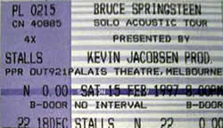 Ticket stub for the 15 Feb 1997 show at Palais Theatre, Melbourne, Australia