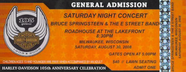 Ticket stub for the 30 Aug 2008 show at The Roadhouse At The Lakefront, Milwaukee, WI