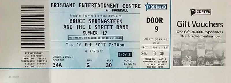 Ticket stub for the 16 Feb 2017 show at Brisbane Entertainment Centre, Brisbane, Australia